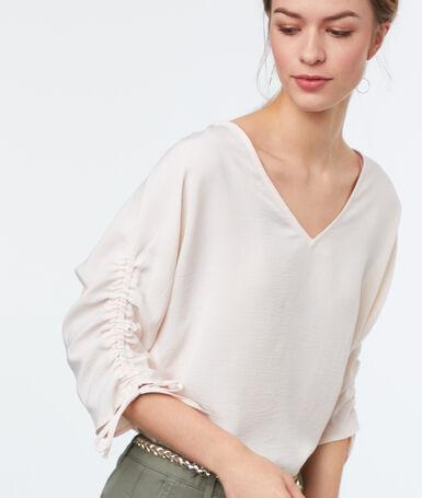3/4-length sleeved top ecru.