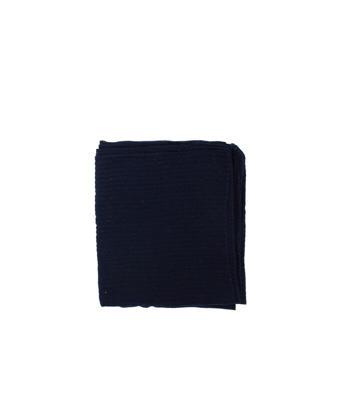 Écharpe détail fil métallisé bleu marine.