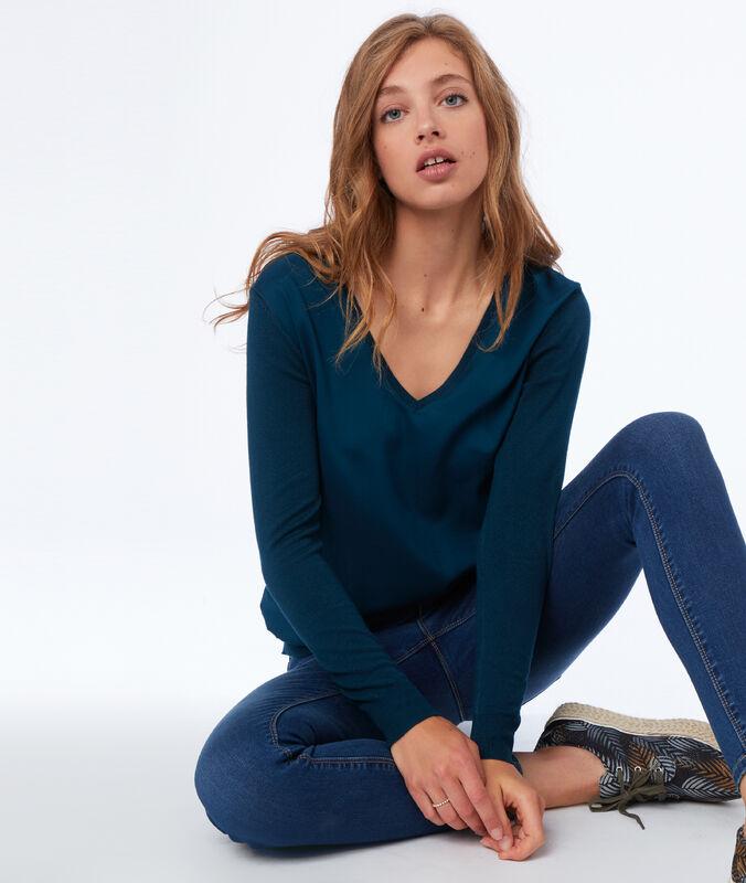 Bi-material v-neck sweater teal.