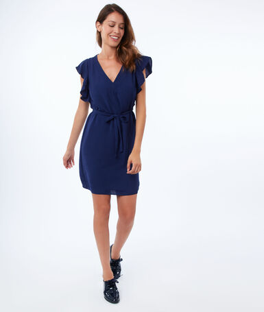 Flared dress with ruffles navy.