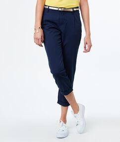 7/8 cotton carrot pants navy blue.