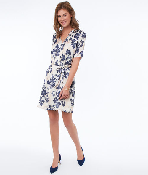 Belted dress with flower print