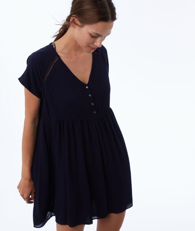 Dress with guipure details bleu marine.