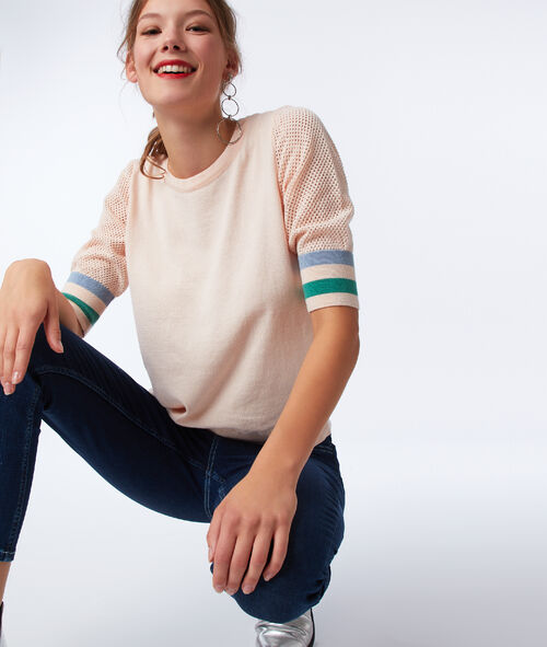 Jumper with short cotton sleeves