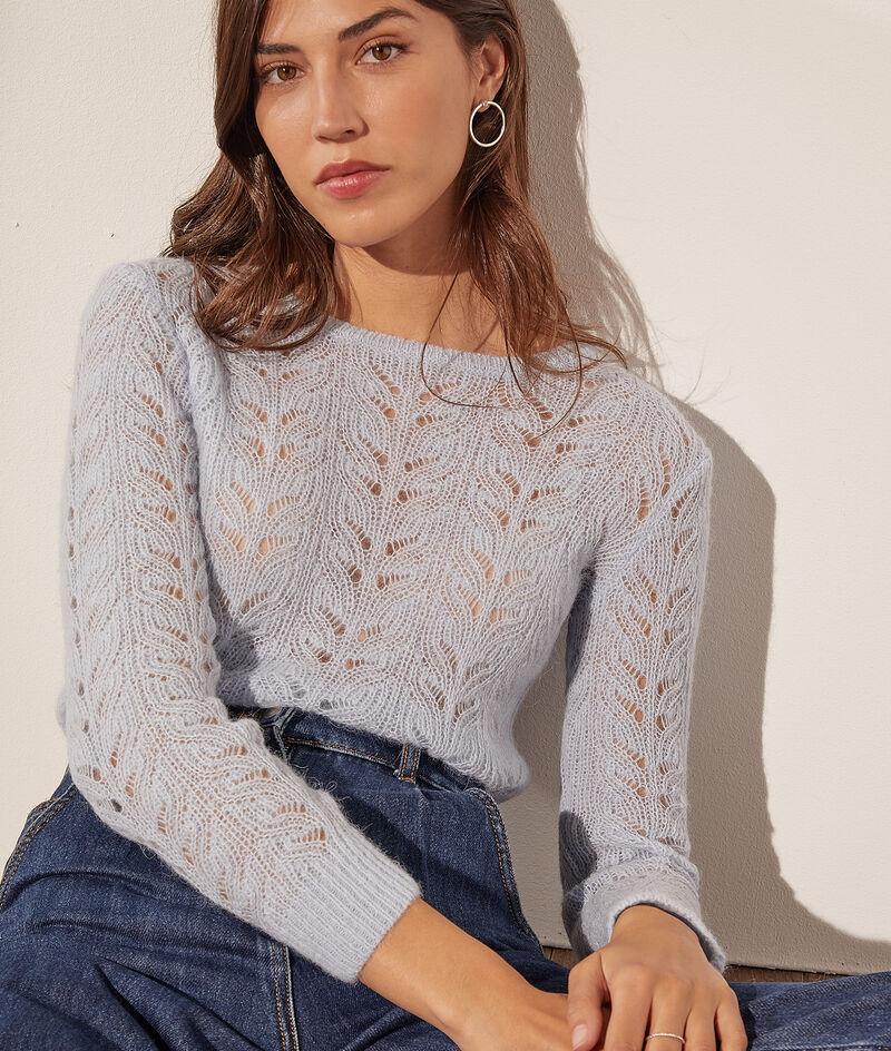 Boat-neck jumper in openwork knit