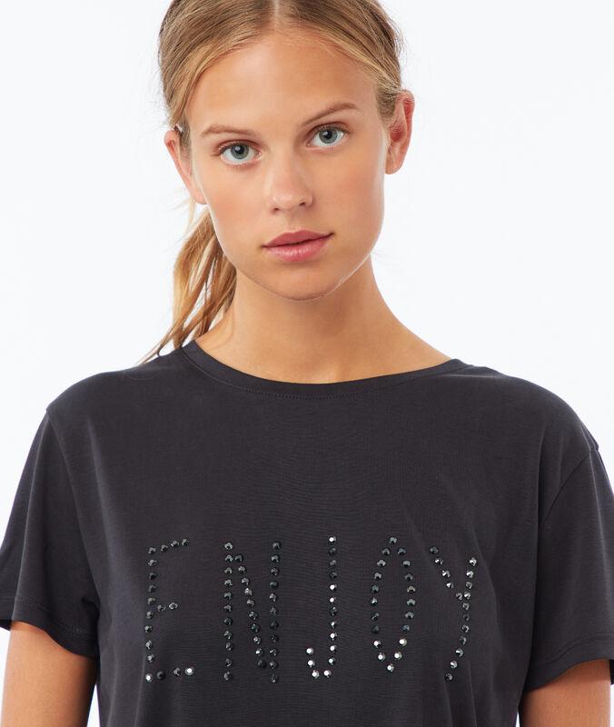 T-shirt à message gris chiné foncé.