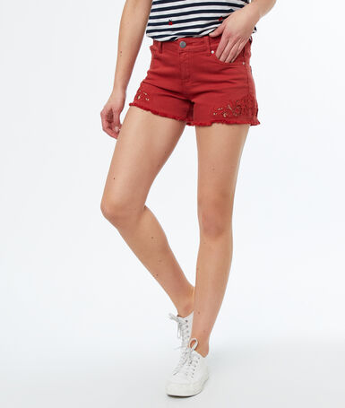 Embroidered shorts red.