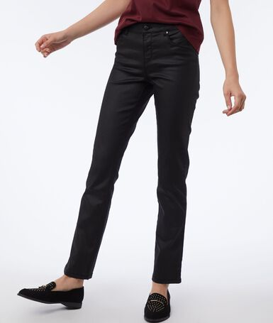 Black pants with coated effect black.