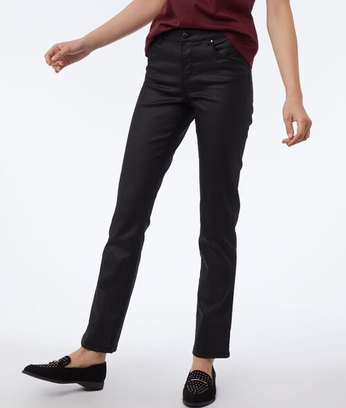 Black pants with coated effect