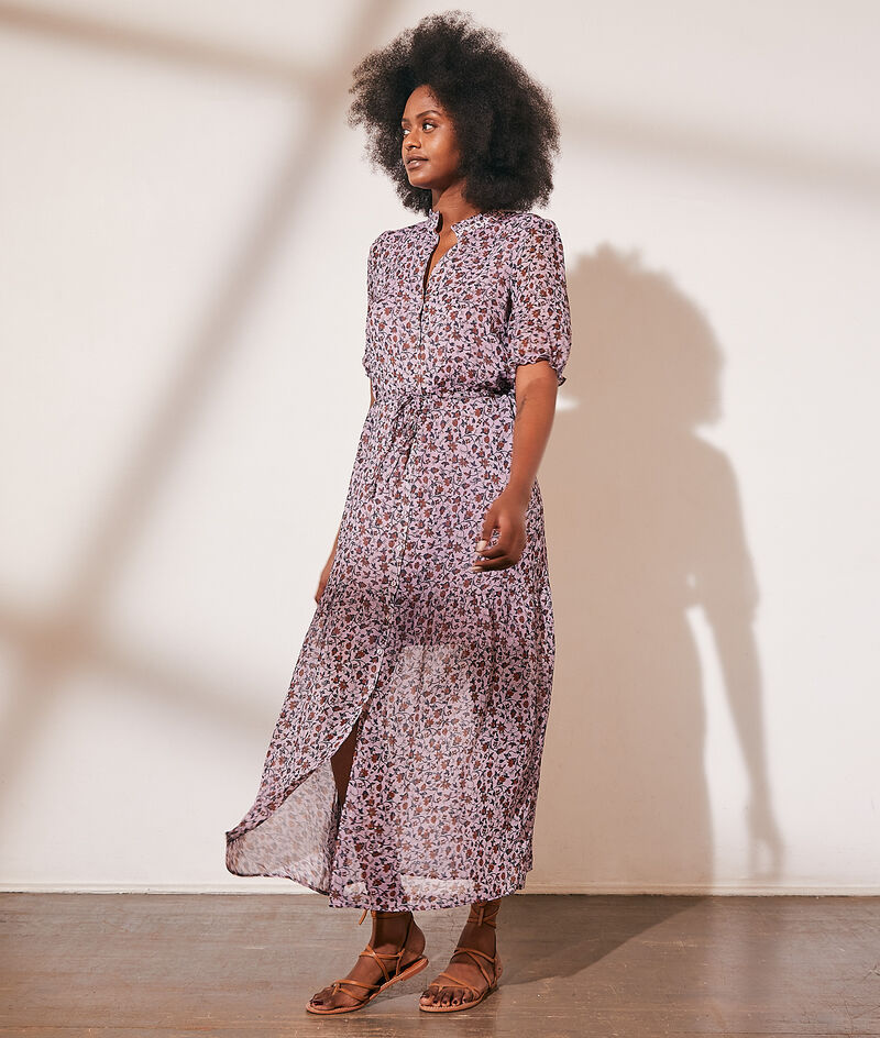 Long floral print dress with metallic thread