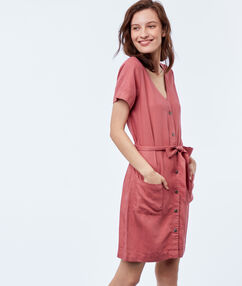 Belted shirt dress dusty pink.