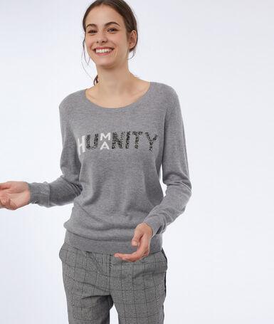 Printed mottled sweater mottled gray.