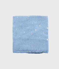 Printed scarf light blue.