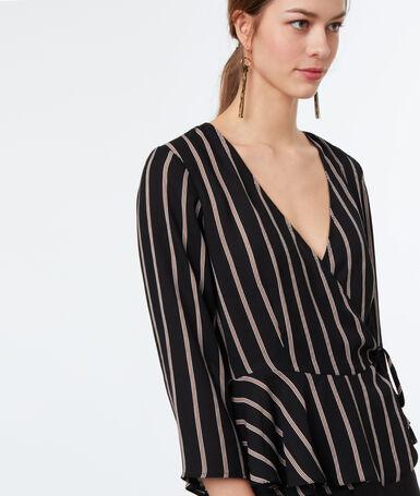 Striped blouse black.