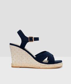Wedge sandals navy blue.