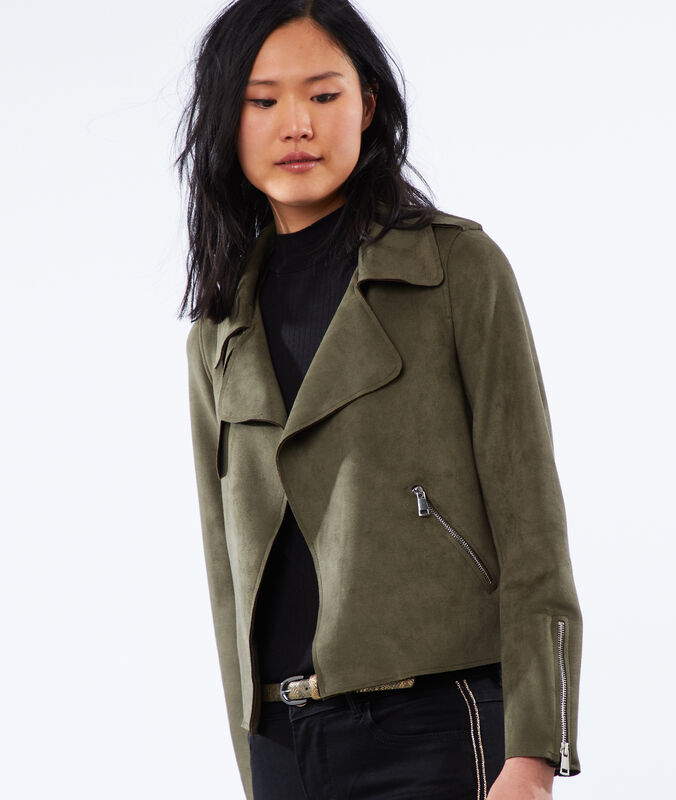 Shawl collar jacket khaki.