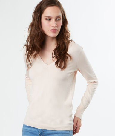 V-neck knitted jumper pale pink.