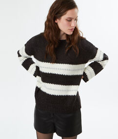 Ecru striped round-necked jumper dark gray.