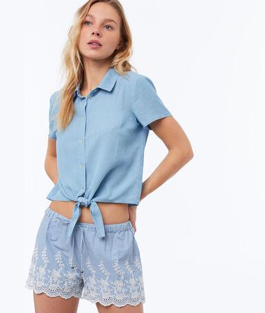 Cutwork shorts light blue.
