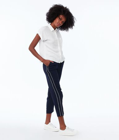 Loose carrot pants navy.