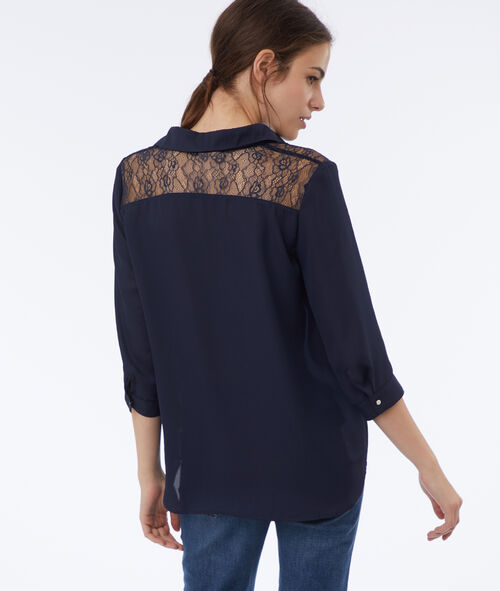 Blouse with lace panel