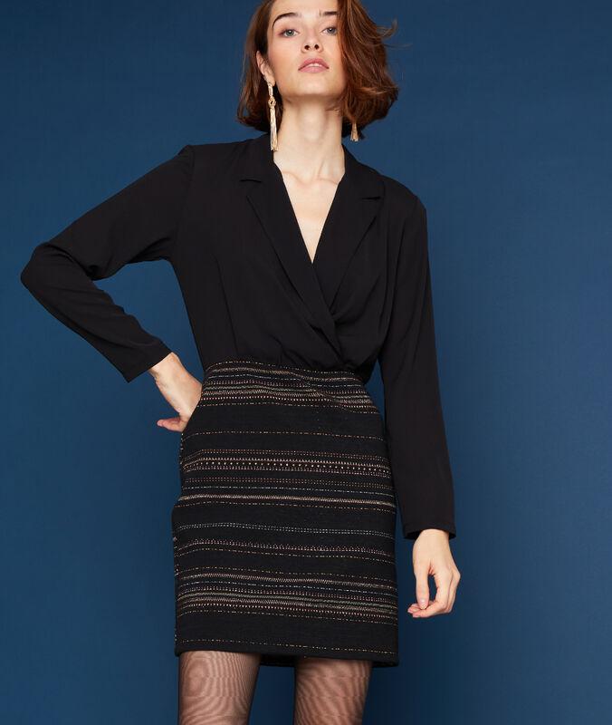 Robe tailleur bimatière noir.