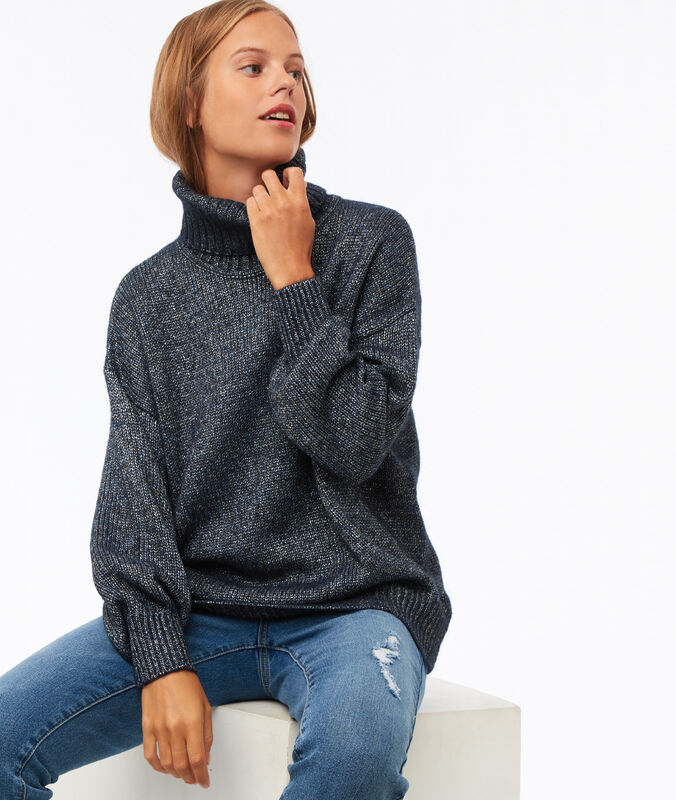 Oversize roll neck jumper with metallic thread navy blue.
