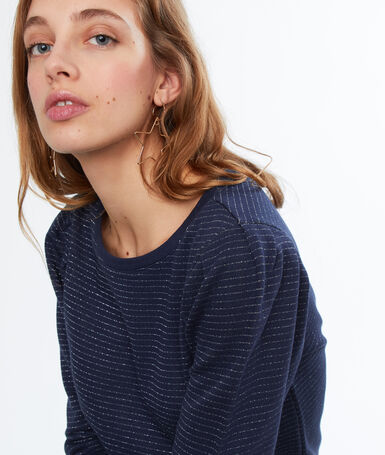 Striped sweatshirt navy blue.