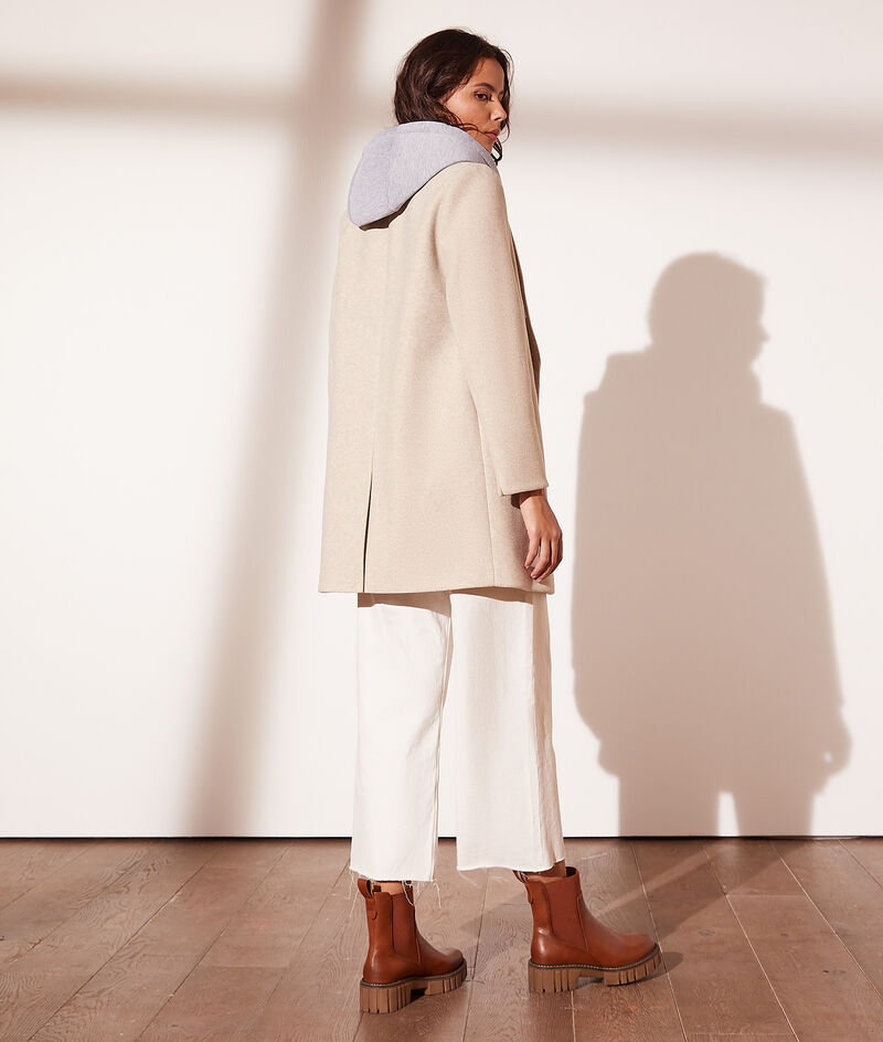 Manteau mi-long à capuche