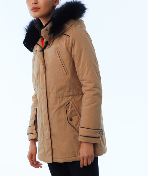 Three quarter length parka with faux fur hood