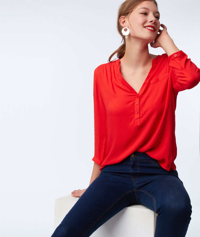 3/4 sleeves plain blouse poppy.