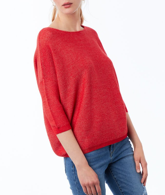 3/4 sleeve sweater with wide neck poppy red.
