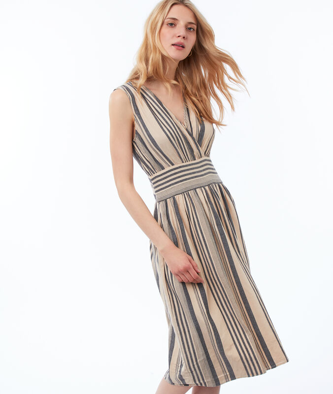 Striped wrap dress black.