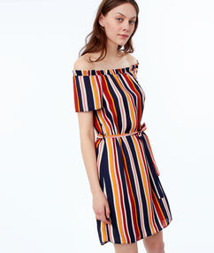 Striped dress navy blue.