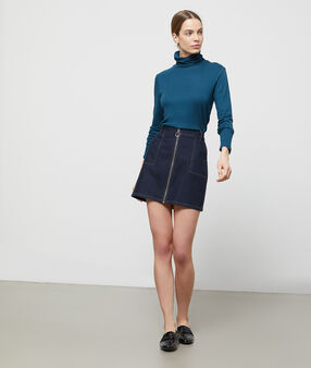 Roll neck jumper peacock blue.