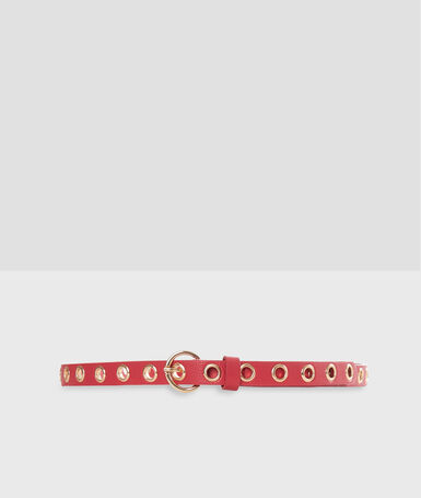 Belt with eyelets red.