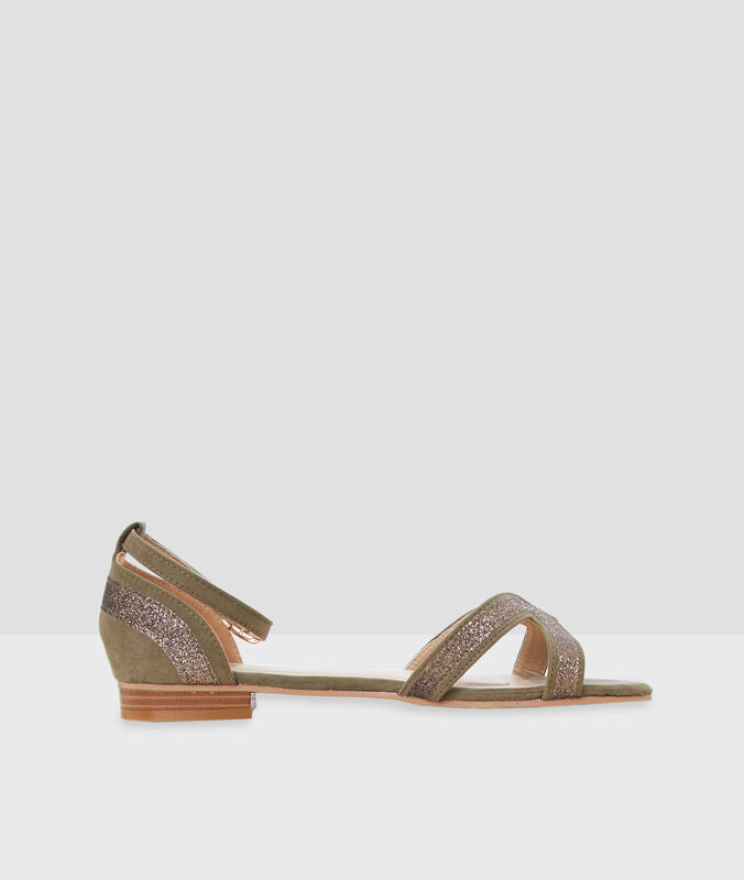Glitter sandals olive green.