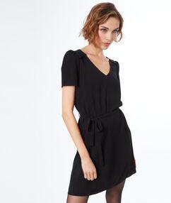Belted dress black.