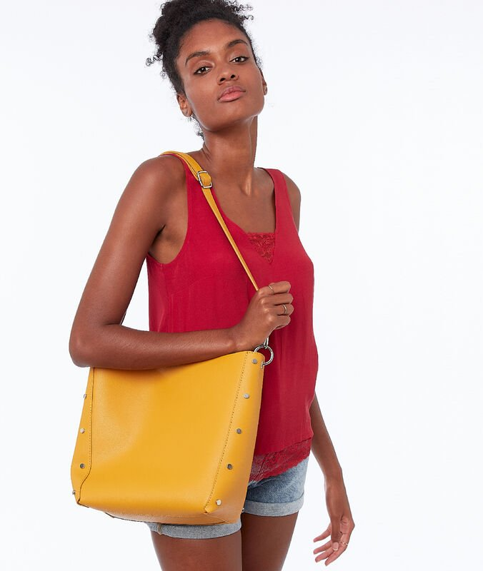 Tote bag with small studs mimosa yellow.