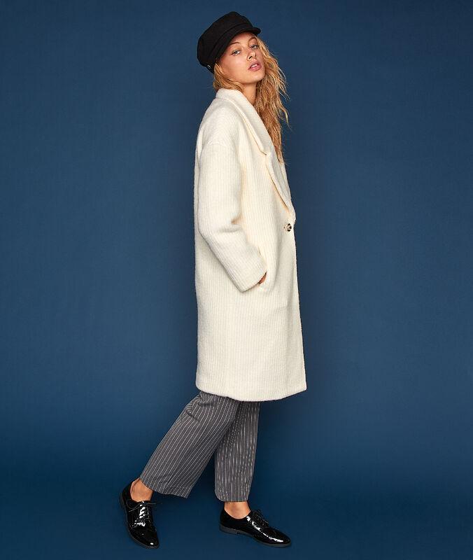 Manteau oversize en laine mélangée écru.