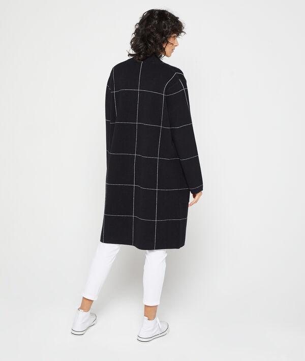 Long cut cardigan in check