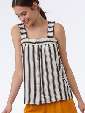 Button striped top ecru.