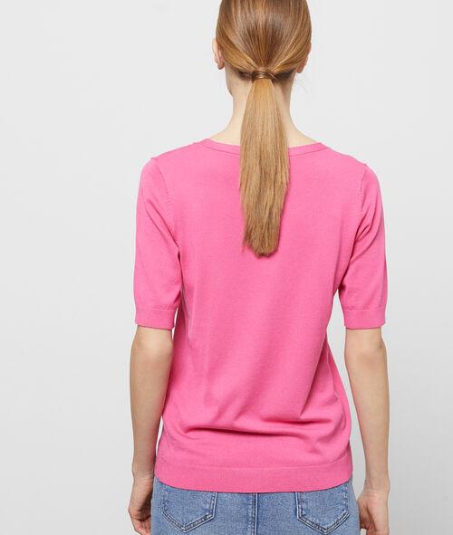 Short-sleeved, round-necked jumper