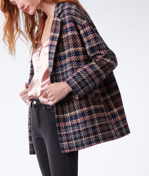 Three quarter length checked coat