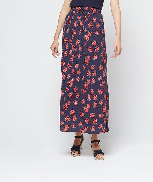e42d00b39716fd Jupe longue à fleurs - IRIS - MARINE - Etam
