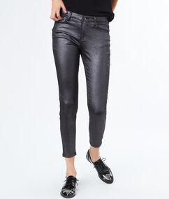 Pantalon skinny huilé argenté.