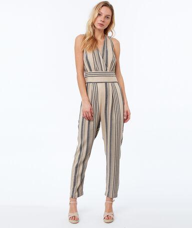 Striped jumpsuit black.