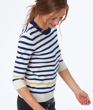 Sweater with sparkling stripes ecru.