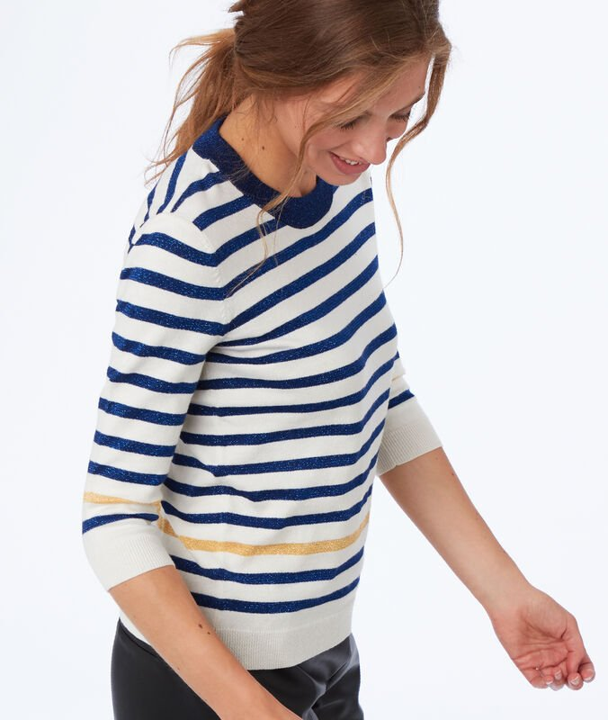 Sweater with sparkling stripes ecru.