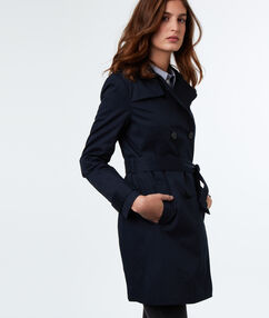 Cotton 3/4 trench coat navy blue.
